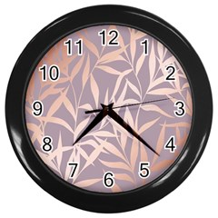 Rose Gold, Asian,leaf,pattern,bamboo Trees, Beauty, Pink,metallic,feminine,elegant,chic,modern,wedding Wall Clocks (black) by 8fugoso