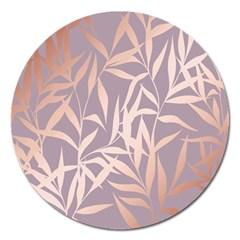 Rose Gold, Asian,leaf,pattern,bamboo Trees, Beauty, Pink,metallic,feminine,elegant,chic,modern,wedding Magnet 5  (round)