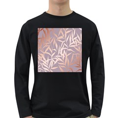 Rose Gold, Asian,leaf,pattern,bamboo Trees, Beauty, Pink,metallic,feminine,elegant,chic,modern,wedding Long Sleeve Dark T Shirts