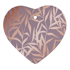Rose Gold, Asian,leaf,pattern,bamboo Trees, Beauty, Pink,metallic,feminine,elegant,chic,modern,wedding Heart Ornament (two Sides)