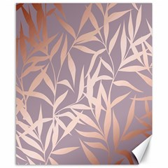 Rose Gold, Asian,leaf,pattern,bamboo Trees, Beauty, Pink,metallic,feminine,elegant,chic,modern,wedding Canvas 8  X 10