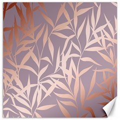 Rose Gold, Asian,leaf,pattern,bamboo Trees, Beauty, Pink,metallic,feminine,elegant,chic,modern,wedding Canvas 12  X 12   by 8fugoso