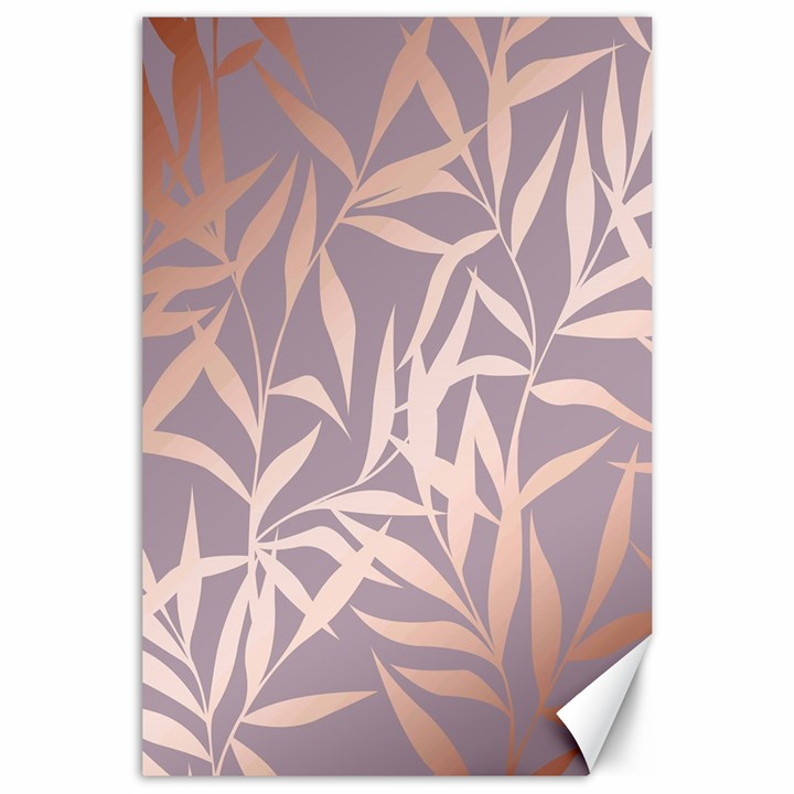 rose gold, asian,leaf,pattern,bamboo trees, beauty, pink,metallic,feminine,elegant,chic,modern,wedding Canvas 24  x 36