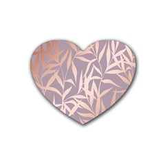 Rose Gold, Asian,leaf,pattern,bamboo Trees, Beauty, Pink,metallic,feminine,elegant,chic,modern,wedding Heart Coaster (4 Pack)
