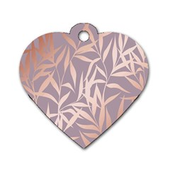 Rose Gold, Asian,leaf,pattern,bamboo Trees, Beauty, Pink,metallic,feminine,elegant,chic,modern,wedding Dog Tag Heart (one Side)
