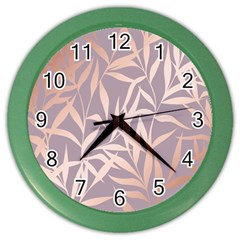 Rose Gold, Asian,leaf,pattern,bamboo Trees, Beauty, Pink,metallic,feminine,elegant,chic,modern,wedding Color Wall Clocks
