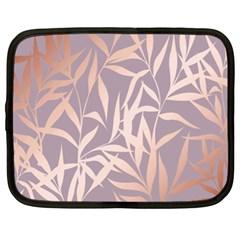 Rose Gold, Asian,leaf,pattern,bamboo Trees, Beauty, Pink,metallic,feminine,elegant,chic,modern,wedding Netbook Case (xl)