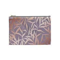 Rose Gold, Asian,leaf,pattern,bamboo Trees, Beauty, Pink,metallic,feminine,elegant,chic,modern,wedding Cosmetic Bag (medium)