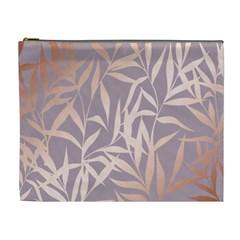Rose Gold, Asian,leaf,pattern,bamboo Trees, Beauty, Pink,metallic,feminine,elegant,chic,modern,wedding Cosmetic Bag (xl)