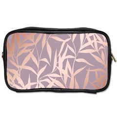 Rose Gold, Asian,leaf,pattern,bamboo Trees, Beauty, Pink,metallic,feminine,elegant,chic,modern,wedding Toiletries Bags by 8fugoso