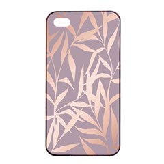 Rose Gold, Asian,leaf,pattern,bamboo Trees, Beauty, Pink,metallic,feminine,elegant,chic,modern,wedding Apple Iphone 4/4s Seamless Case (black) by 8fugoso