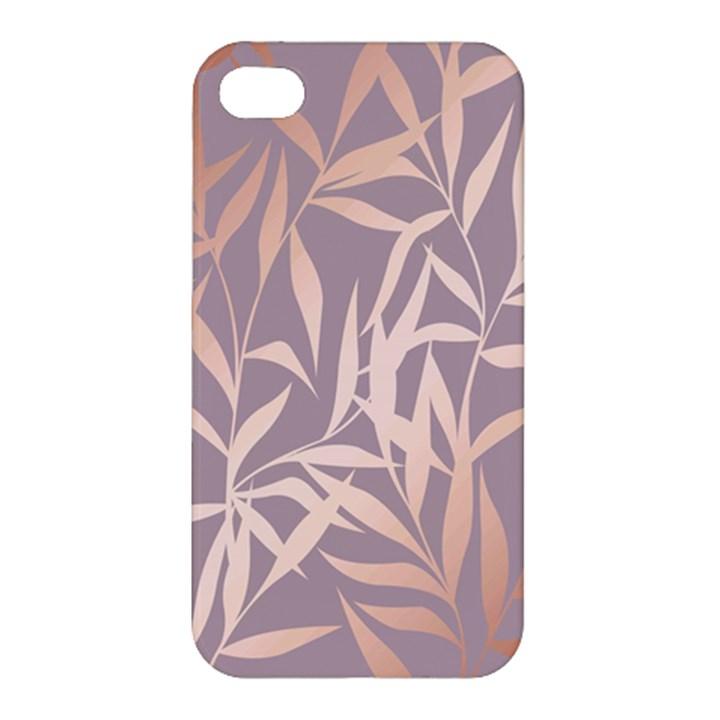 rose gold, asian,leaf,pattern,bamboo trees, beauty, pink,metallic,feminine,elegant,chic,modern,wedding Apple iPhone 4/4S Premium Hardshell Case