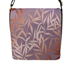 Rose Gold, Asian,leaf,pattern,bamboo Trees, Beauty, Pink,metallic,feminine,elegant,chic,modern,wedding Flap Messenger Bag (l)