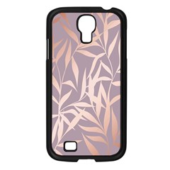 Rose Gold, Asian,leaf,pattern,bamboo Trees, Beauty, Pink,metallic,feminine,elegant,chic,modern,wedding Samsung Galaxy S4 I9500/ I9505 Case (black) by 8fugoso