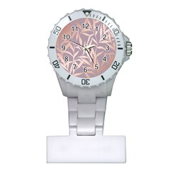 Rose Gold, Asian,leaf,pattern,bamboo Trees, Beauty, Pink,metallic,feminine,elegant,chic,modern,wedding Plastic Nurses Watch