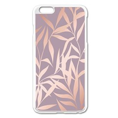 Rose Gold, Asian,leaf,pattern,bamboo Trees, Beauty, Pink,metallic,feminine,elegant,chic,modern,wedding Apple Iphone 6 Plus/6s Plus Enamel White Case