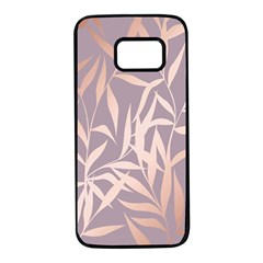 Rose Gold, Asian,leaf,pattern,bamboo Trees, Beauty, Pink,metallic,feminine,elegant,chic,modern,wedding Samsung Galaxy S7 Black Seamless Case by 8fugoso