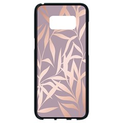 Rose Gold, Asian,leaf,pattern,bamboo Trees, Beauty, Pink,metallic,feminine,elegant,chic,modern,wedding Samsung Galaxy S8 Black Seamless Case by 8fugoso
