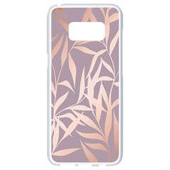 Rose Gold, Asian,leaf,pattern,bamboo Trees, Beauty, Pink,metallic,feminine,elegant,chic,modern,wedding Samsung Galaxy S8 White Seamless Case by 8fugoso