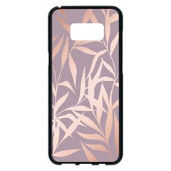 Rose Gold, Asian,leaf,pattern,bamboo Trees, Beauty, Pink,metallic,feminine,elegant,chic,modern,wedding Samsung Galaxy S8 Plus Black Seamless Case by 8fugoso