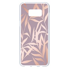 Rose Gold, Asian,leaf,pattern,bamboo Trees, Beauty, Pink,metallic,feminine,elegant,chic,modern,wedding Samsung Galaxy S8 Plus White Seamless Case by 8fugoso