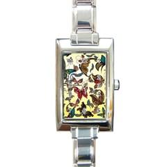 Colorful Butterflies Rectangle Italian Charm Watch