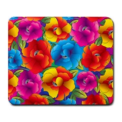 Neon Colored Floral Pattern Large Mousepads by allthingseveryone