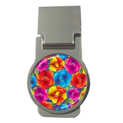 Neon Colored Floral Pattern Money Clips (round)  by AllThingsEveryone
