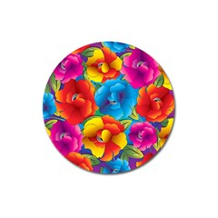 Neon Colored Floral Pattern Magnet 3  (round) by AllThingsEveryone