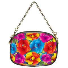 Neon Colored Floral Pattern Chain Purses (one Side)  by AllThingsEveryone