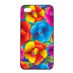 Neon Colored Floral Pattern Apple Iphone 4/4s Seamless Case (black) by AllThingsEveryone
