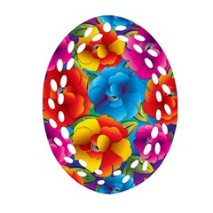 Neon Colored Floral Pattern Oval Filigree Ornament (two Sides) by allthingseveryone