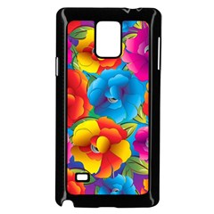Neon Colored Floral Pattern Samsung Galaxy Note 4 Case (black) by allthingseveryone