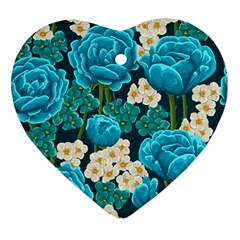 Light Blue Roses And Daisys Ornament (heart) by allthingseveryone