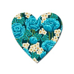 Light Blue Roses And Daisys Heart Magnet by allthingseveryone