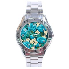 Light Blue Roses And Daisys Stainless Steel Analogue Watch by AllThingsEveryone