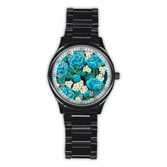 Light Blue Roses And Daisys Stainless Steel Round Watch by AllThingsEveryone