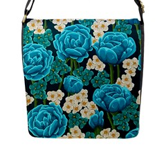 Light Blue Roses And Daisys Flap Messenger Bag (l)  by allthingseveryone