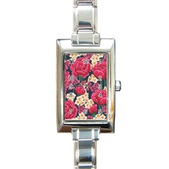 Pink Roses And Daisies Rectangle Italian Charm Watch
