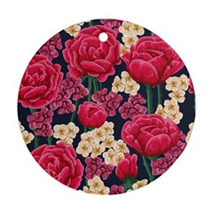 Pink Roses And Daisies Ornament (round)