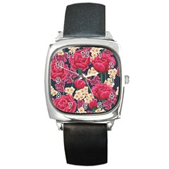 Pink Roses And Daisies Square Metal Watch by allthingseveryone