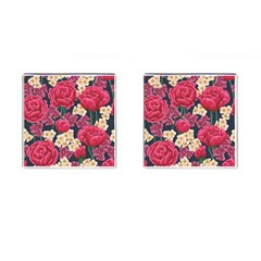 Pink Roses And Daisies Cufflinks (square) by allthingseveryone