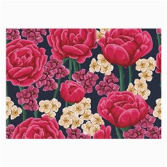 Pink Roses And Daisies Large Glasses Cloth by AllThingsEveryone