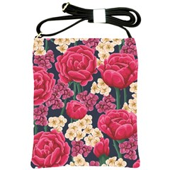 Pink Roses And Daisies Shoulder Sling Bags by allthingseveryone