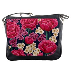 Pink Roses And Daisies Messenger Bags