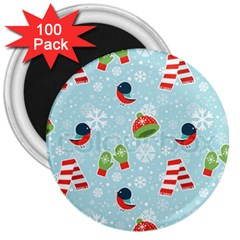 Winter Fun Pattern 3  Magnets (100 Pack) by allthingseveryone