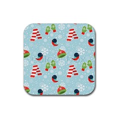 Winter Fun Pattern Rubber Coaster (square)  by AllThingsEveryone