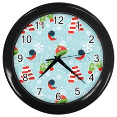Winter Fun Pattern Wall Clocks (black) by AllThingsEveryone