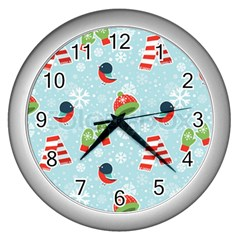 Winter Fun Pattern Wall Clocks (silver)  by AllThingsEveryone