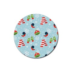 Winter Fun Pattern Rubber Coaster (round)  by AllThingsEveryone